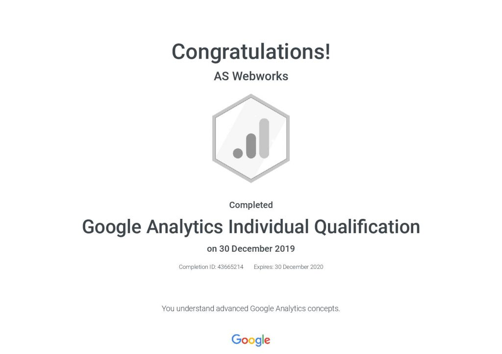 Google Analytics Individual Qualification _ Google- AS Webworks